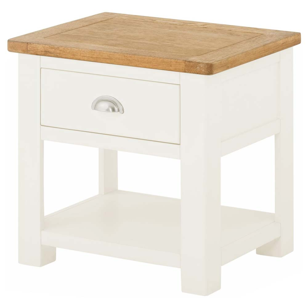 Cotswold Lamp Table with Drawer - White
