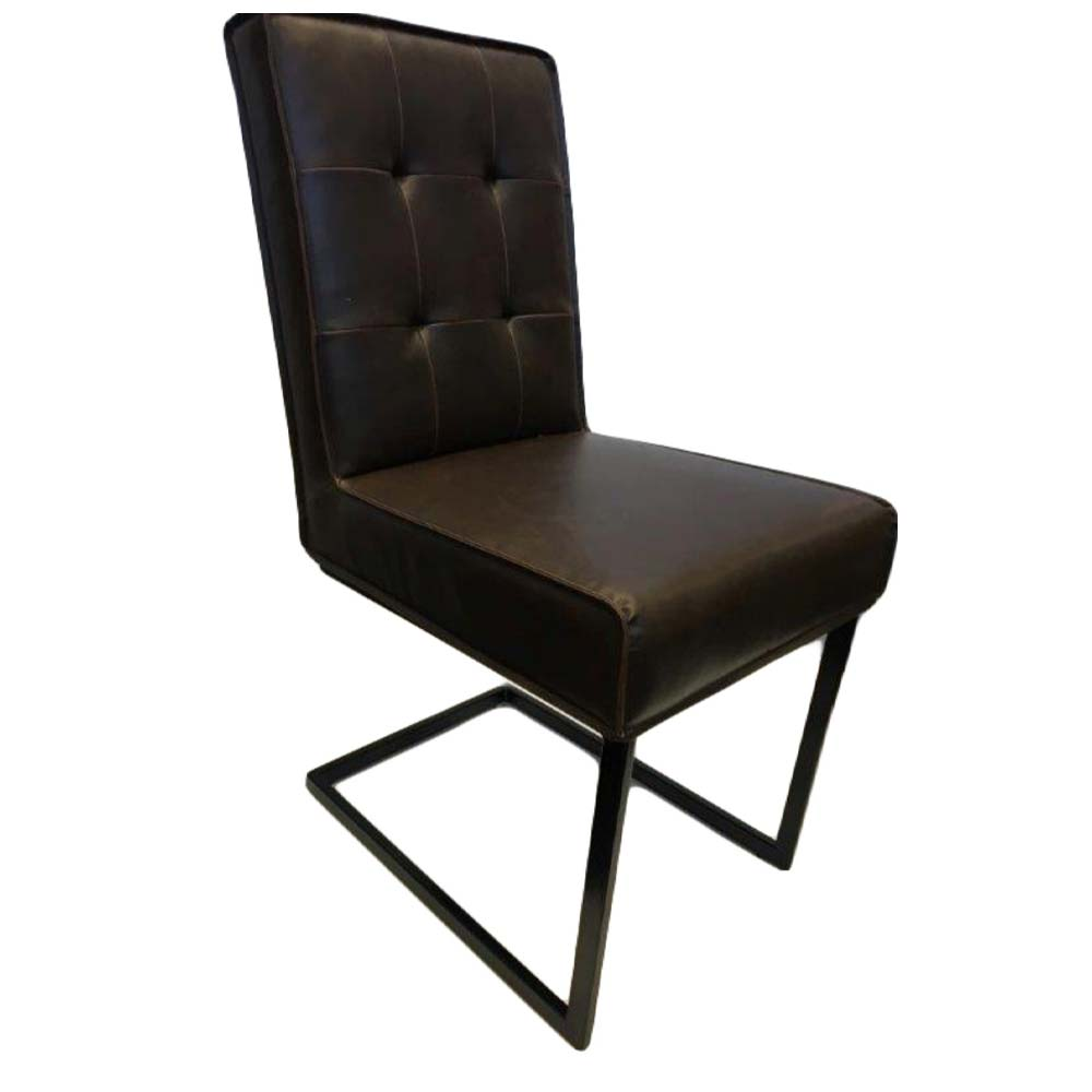 Club cantilever dining chair with dark leather