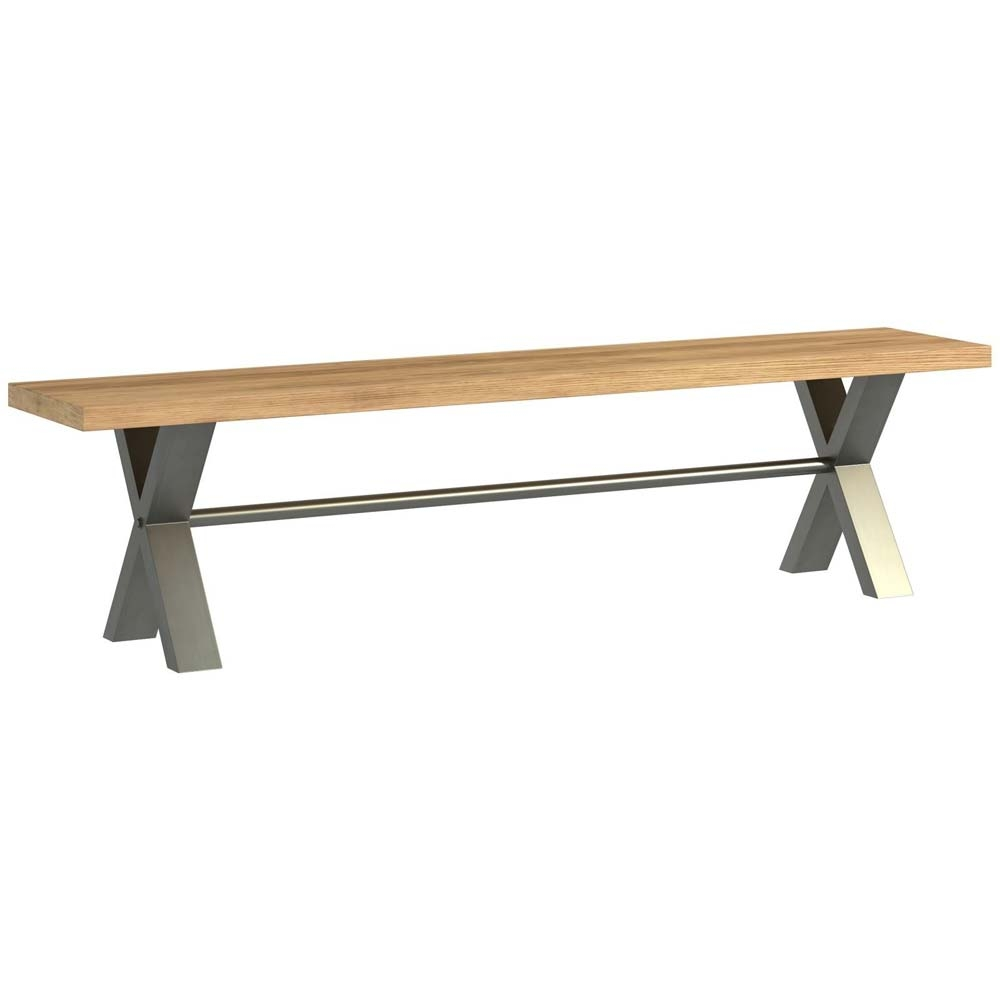 Large bench with metal and oak