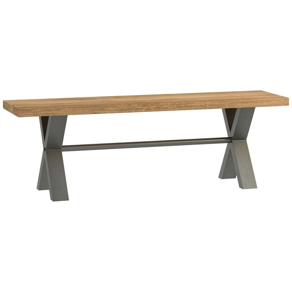Small bench with metal and oak