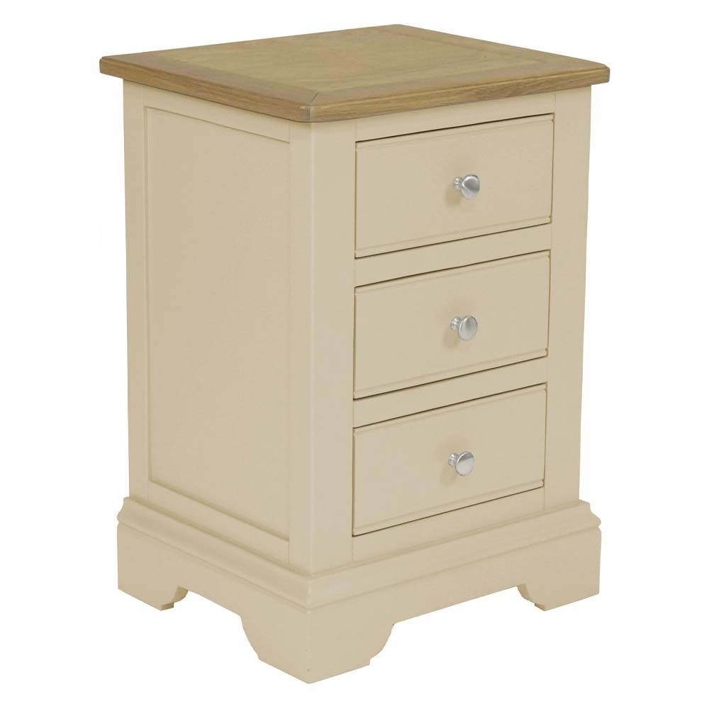 Cream painted oak three drawer bedside cabinet