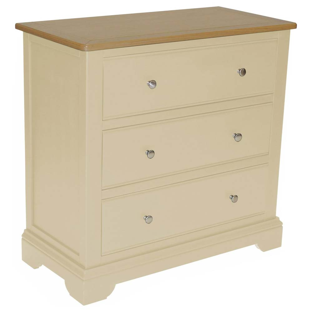 Cream painted oak chest of drawers