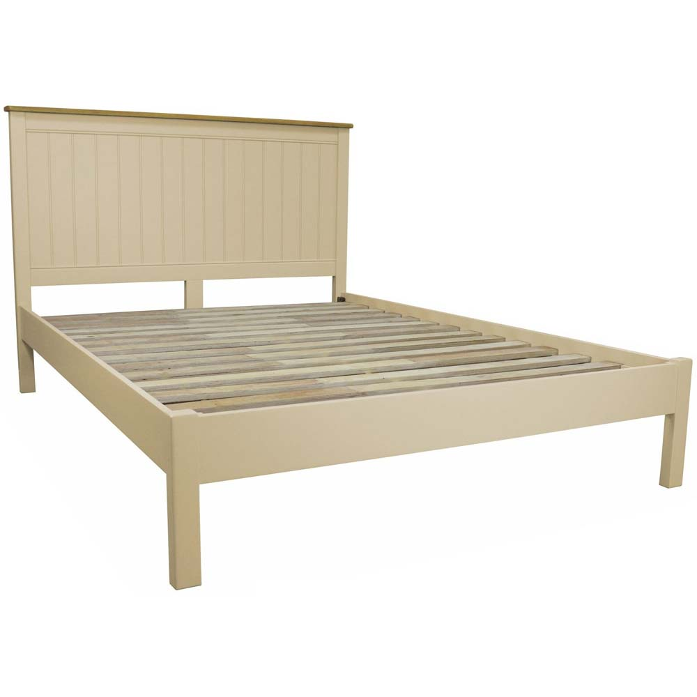 Cream painted oak double bed