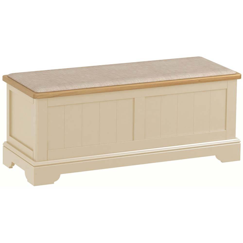 Cream painted oak ottoman