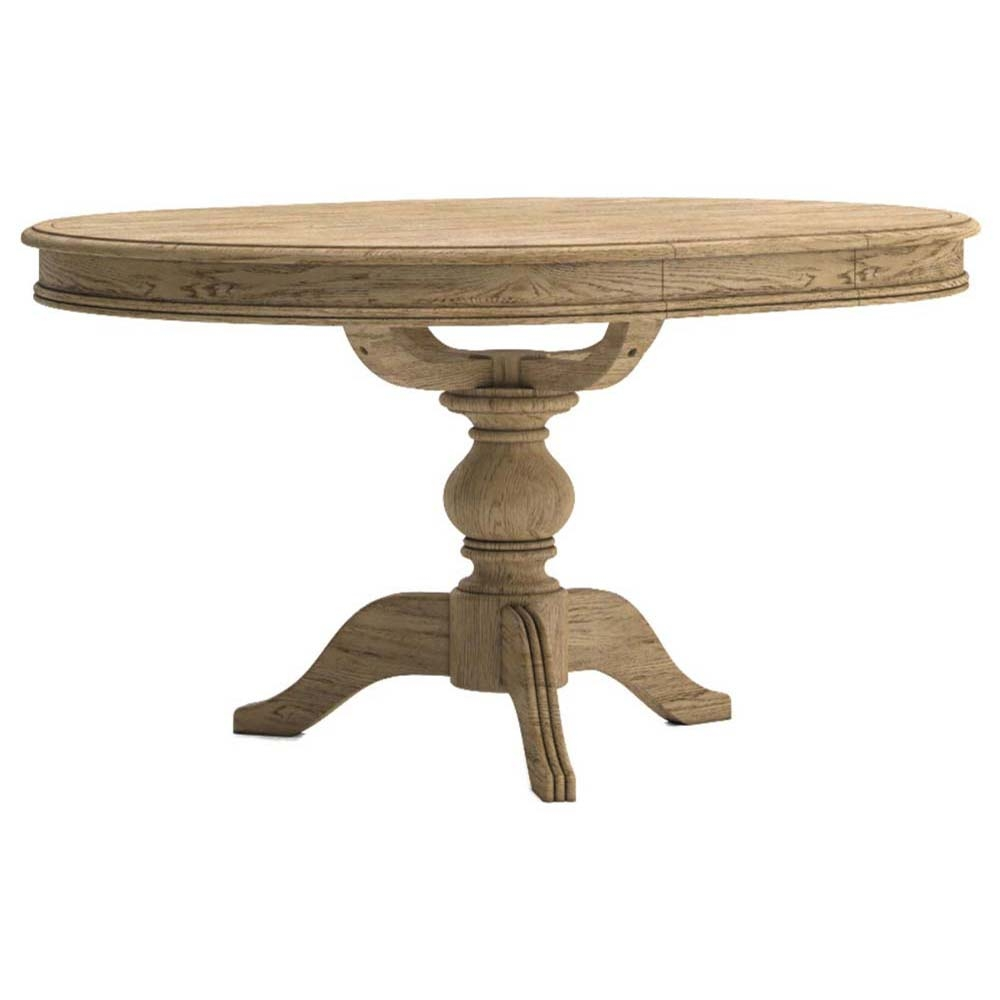 Round oak extending dining table