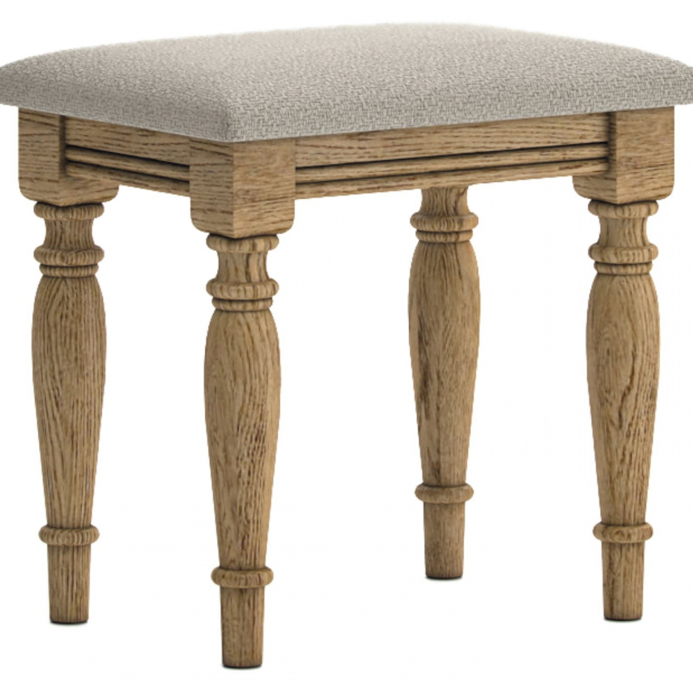 Antique style oak cushioned stool