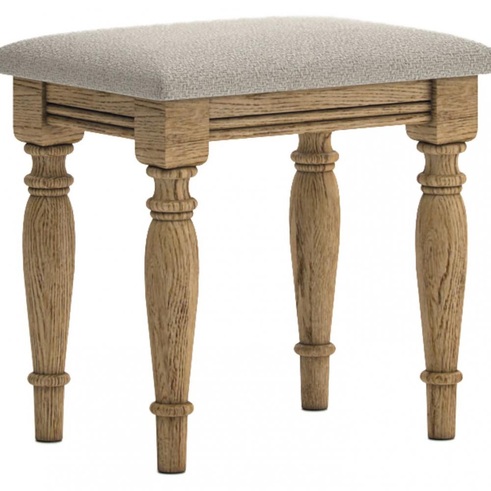 Antique style oak cushioned stool