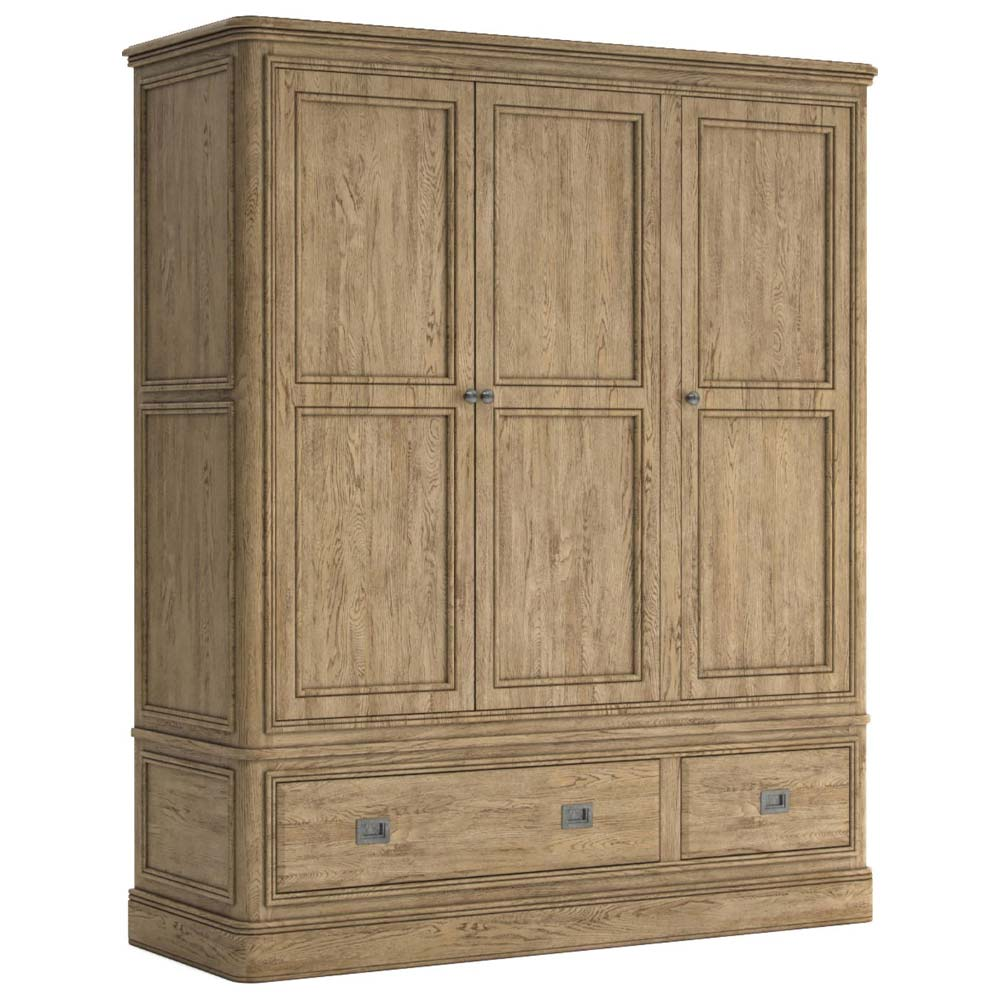 Antique style three door wardrobe