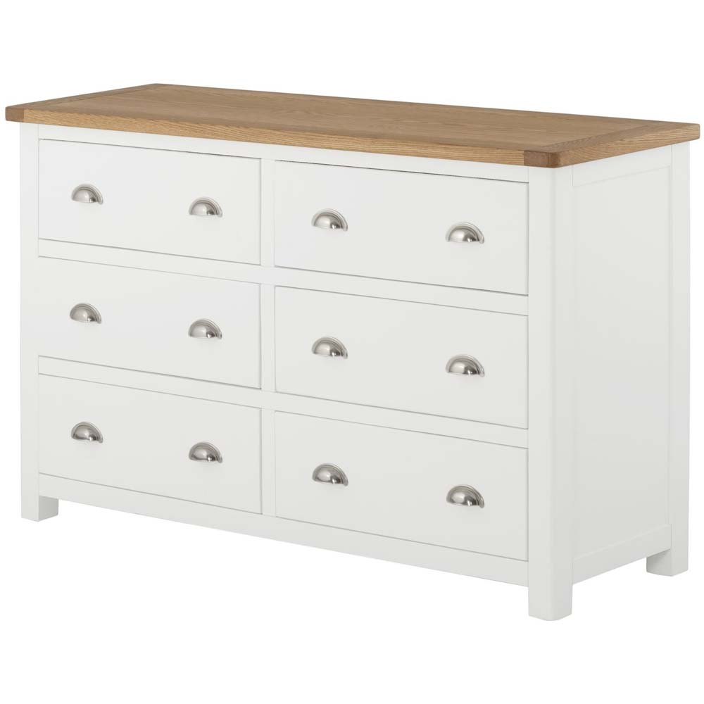 Wide chest with 6 drawers - painted oak furniture