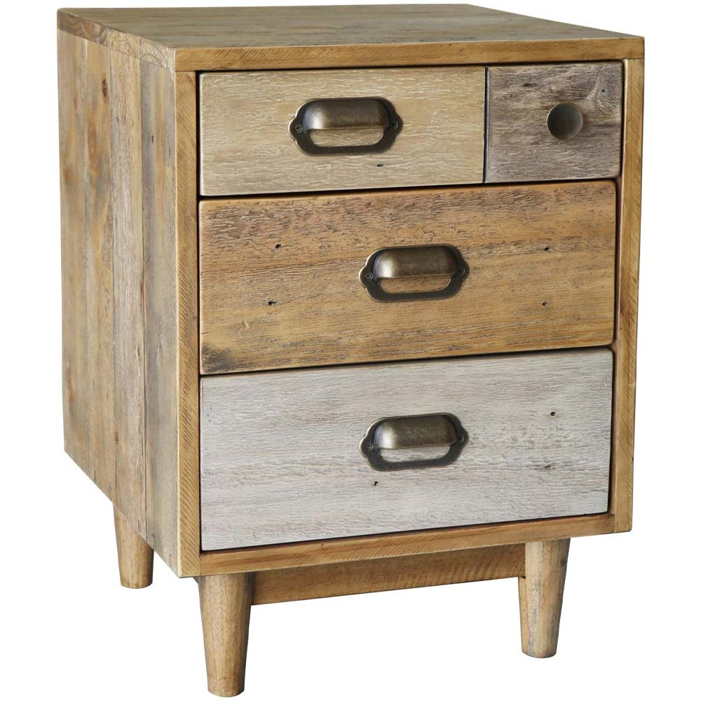 Reclaimed pine bedside table with different drawer sizes