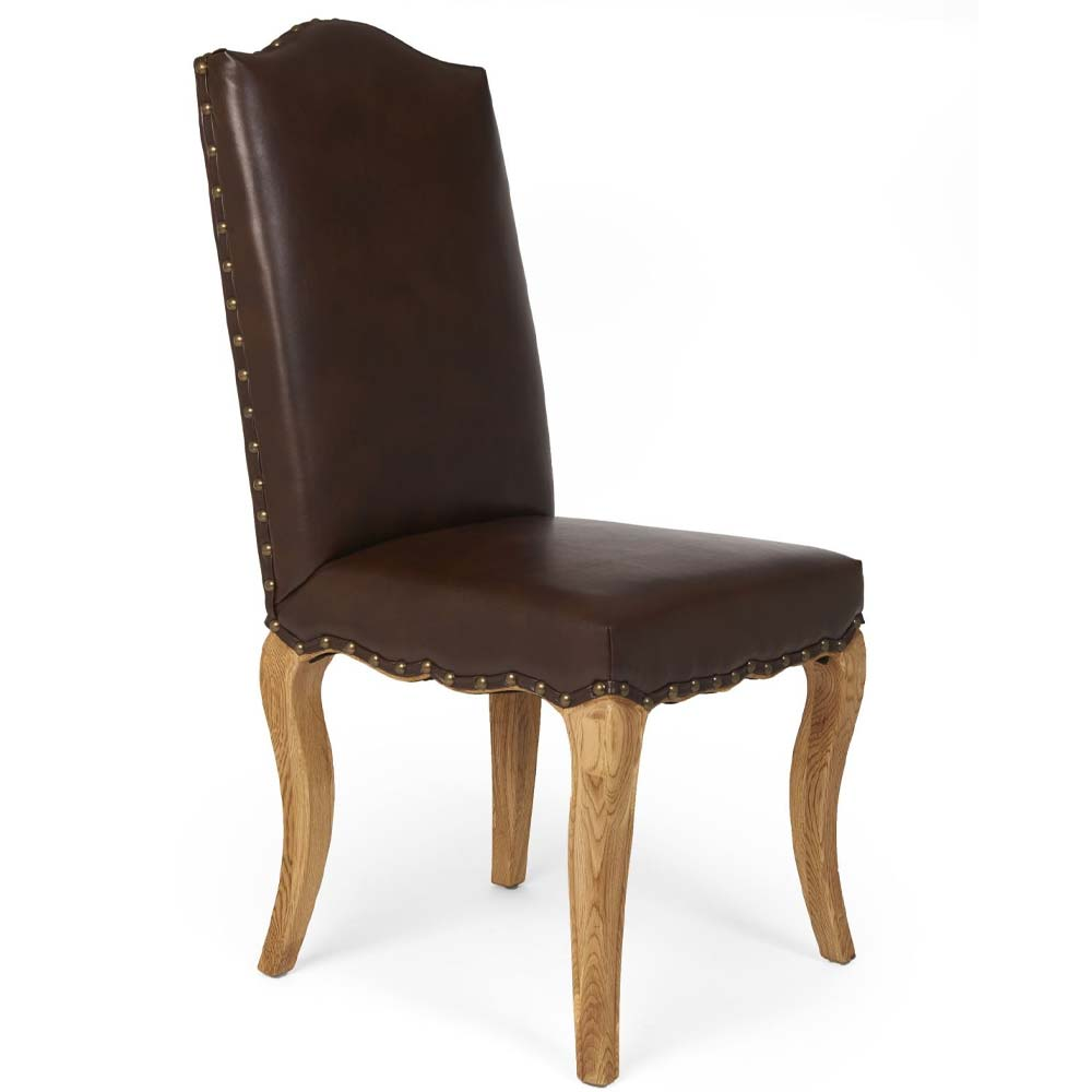 Leather dining chair - oak