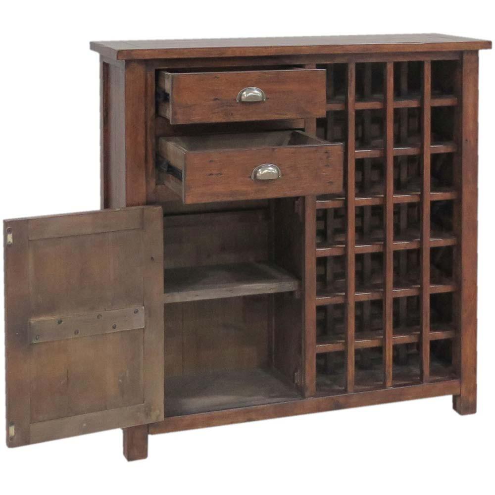 Reclaimed pine bottle cabinet with open cupboard