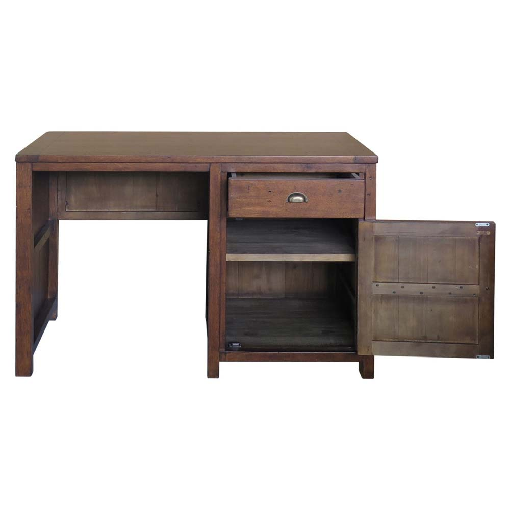Reclaimed pine desk with open cupboard
