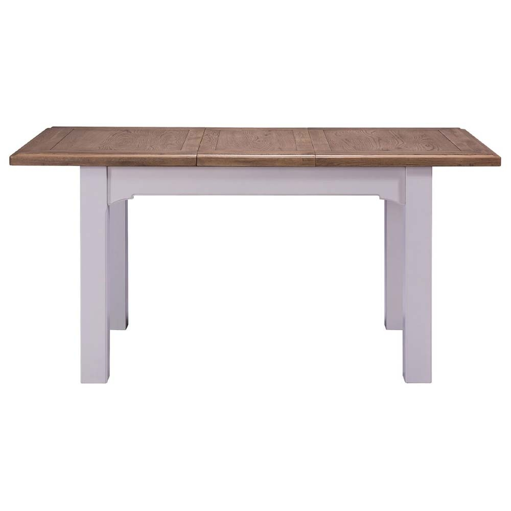 Grey painted oak extending table with leaf
