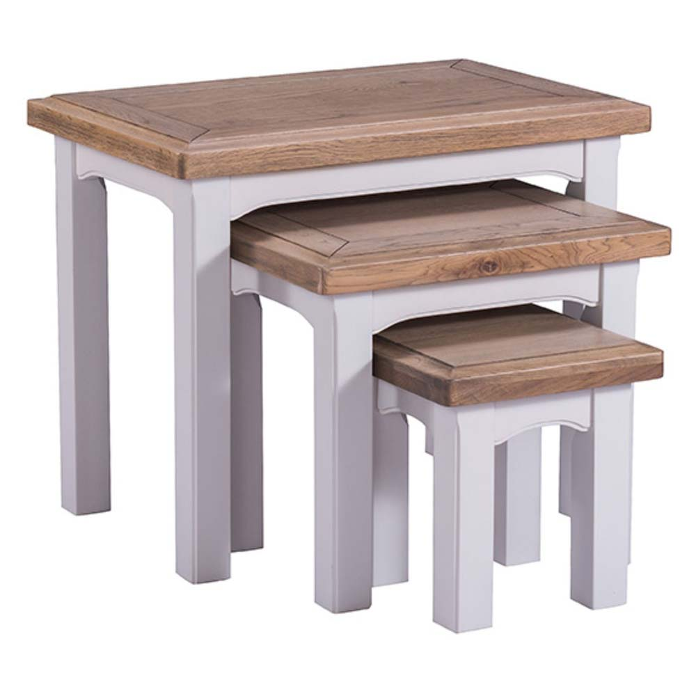 Grey painted oak nest of tables