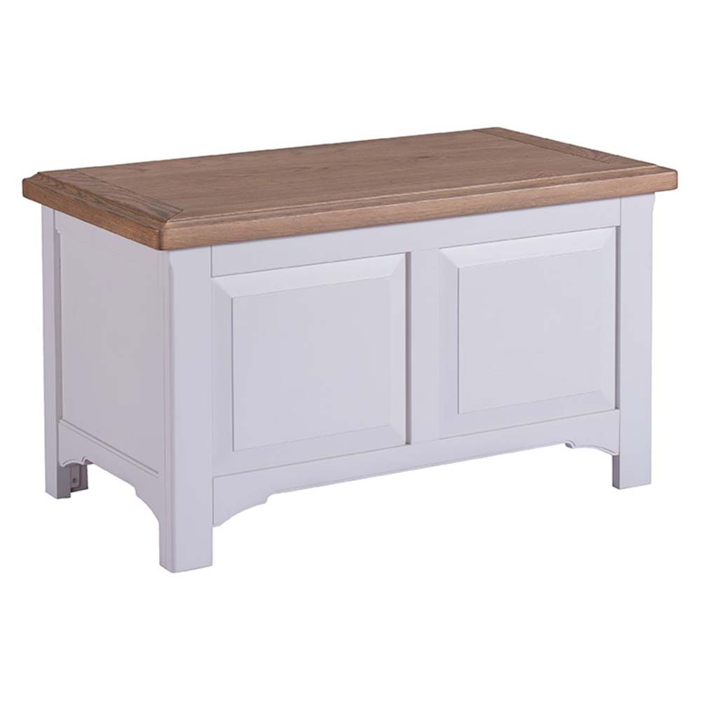 Grey painted oak blanket box