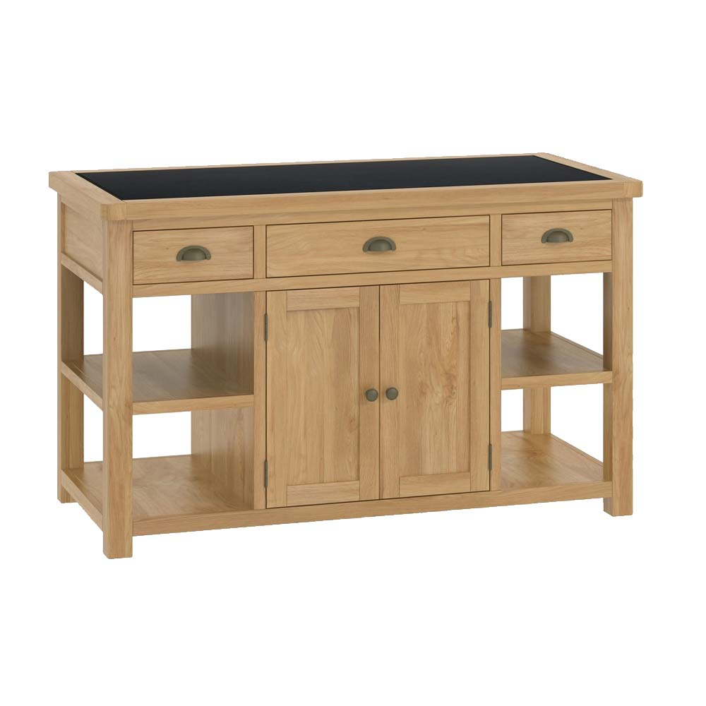 Oak kitchen island with drawers and shelves