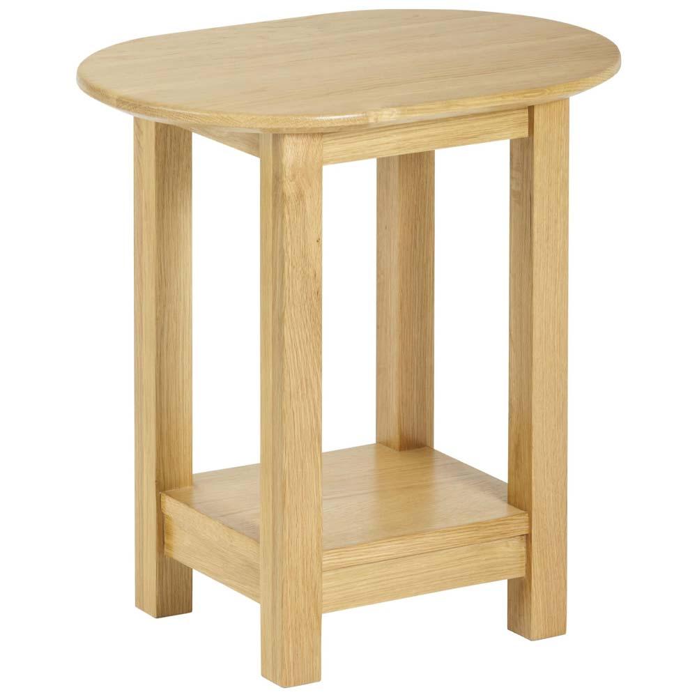Oak oval lamp table
