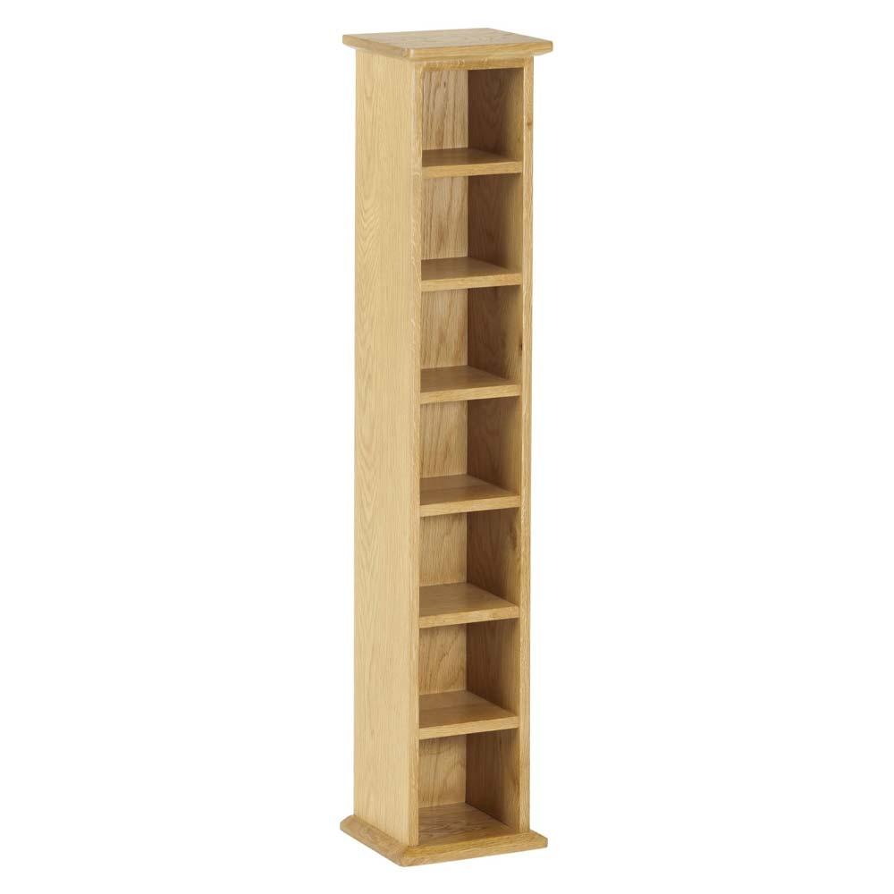 Oak 6 shelf DVD tower