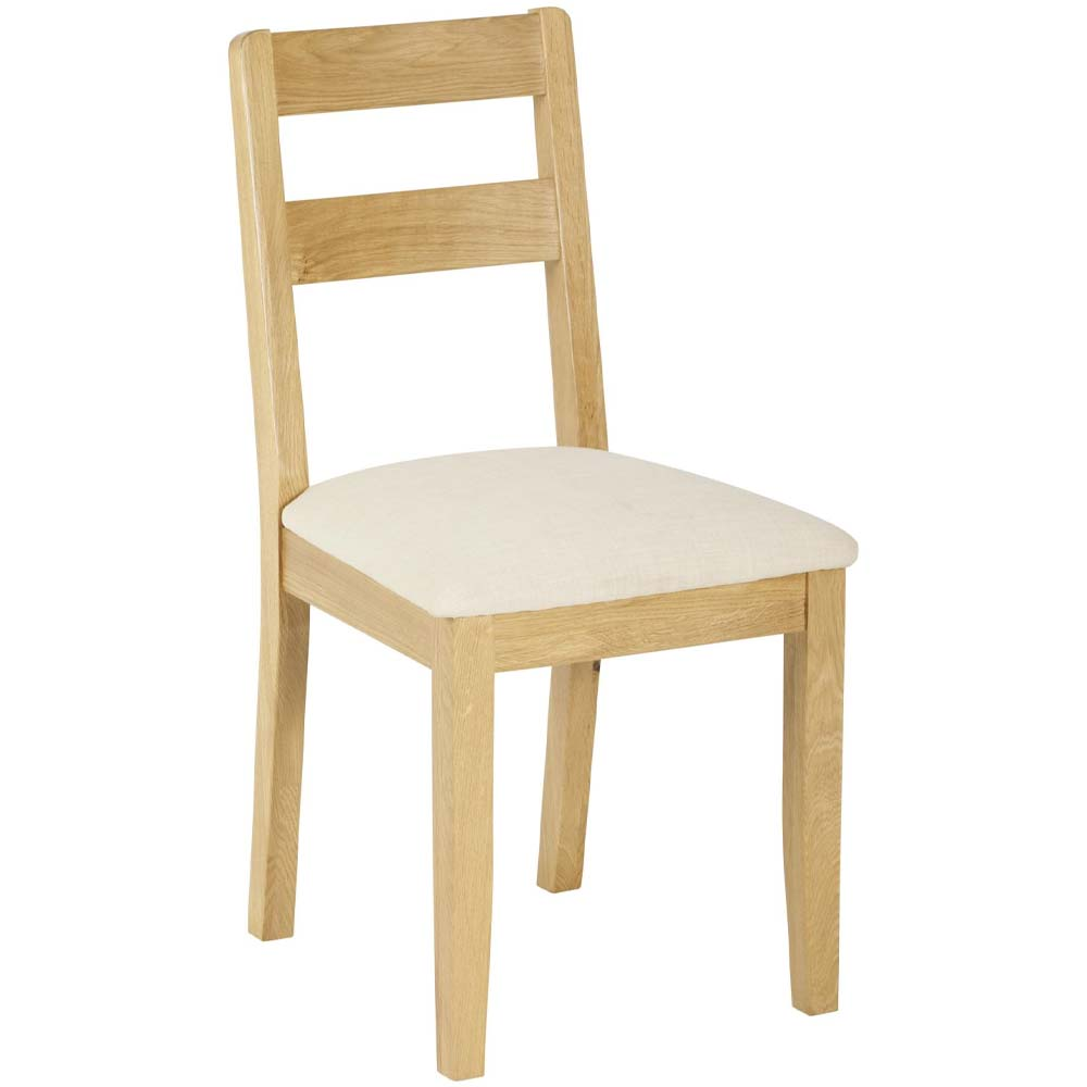 Solid oak dining chair with low back