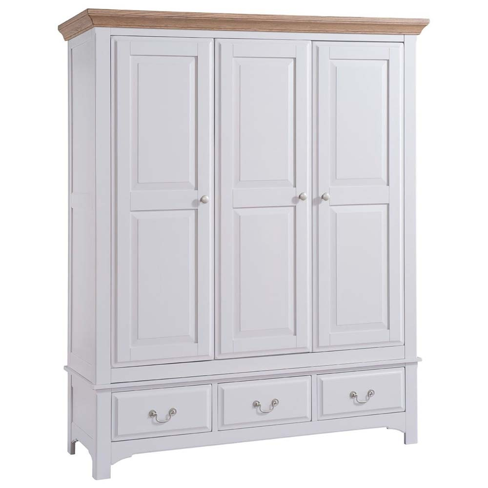 White painted oak three door wardrobe