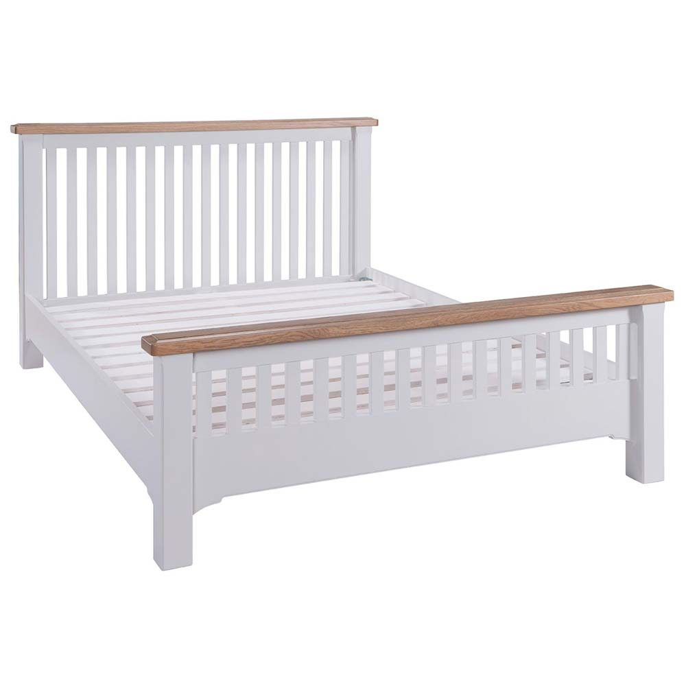White painted oak bed frame