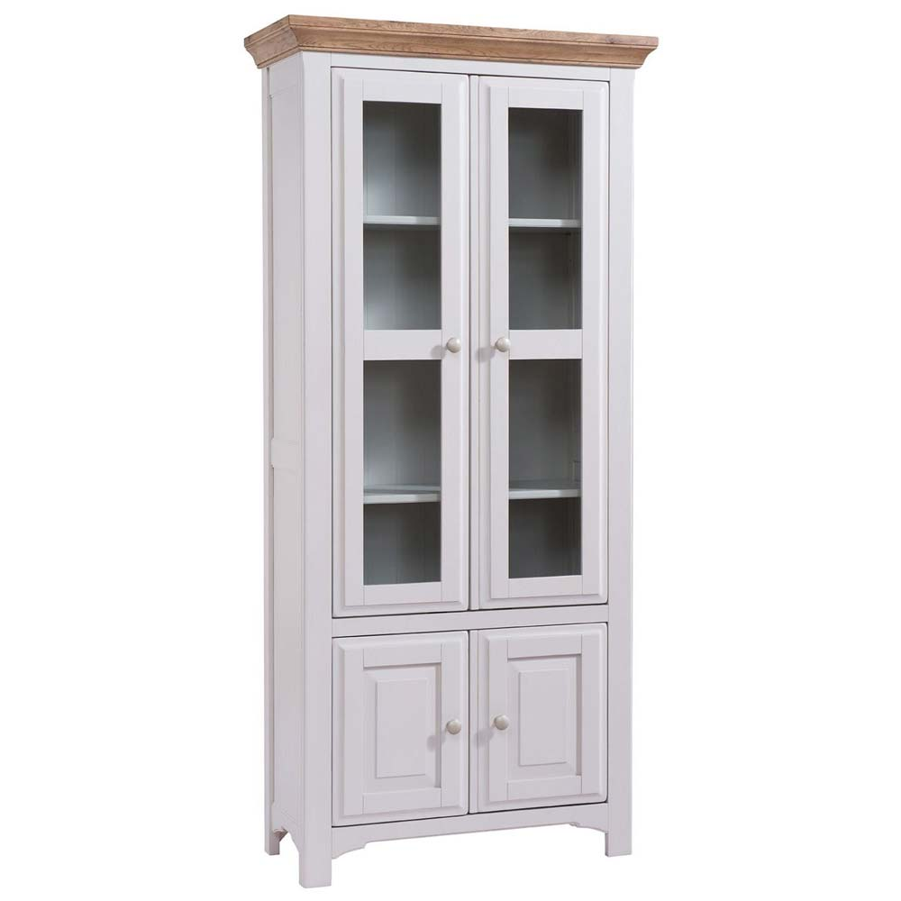 Roxby white painted oak display cabinet