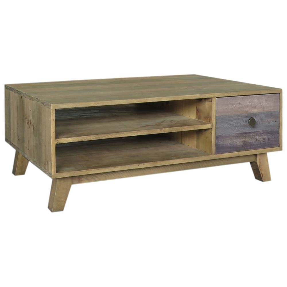 Reclaimed wood coffee table with shelves and drawer