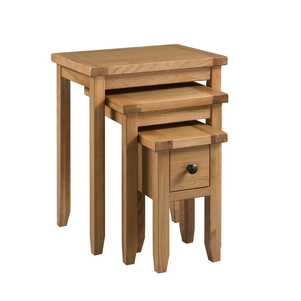 Colorado Oak Small Nest of Tables with Drawer