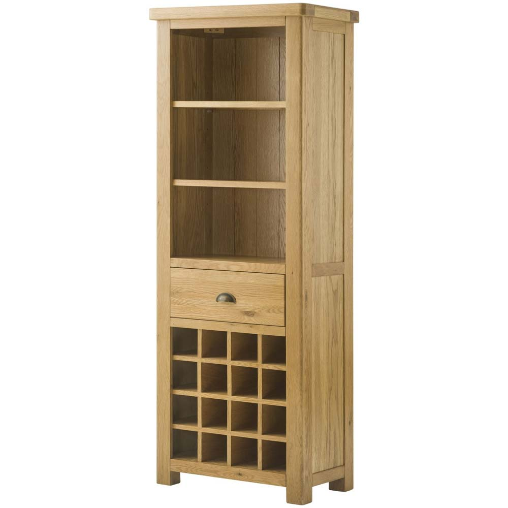 Cotswold Bookcase with Wine Holder - Oak