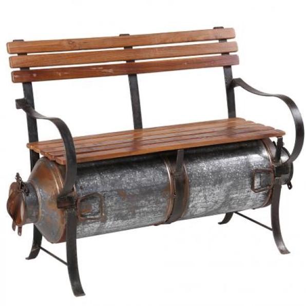 Wooden garden bench with milk barrel