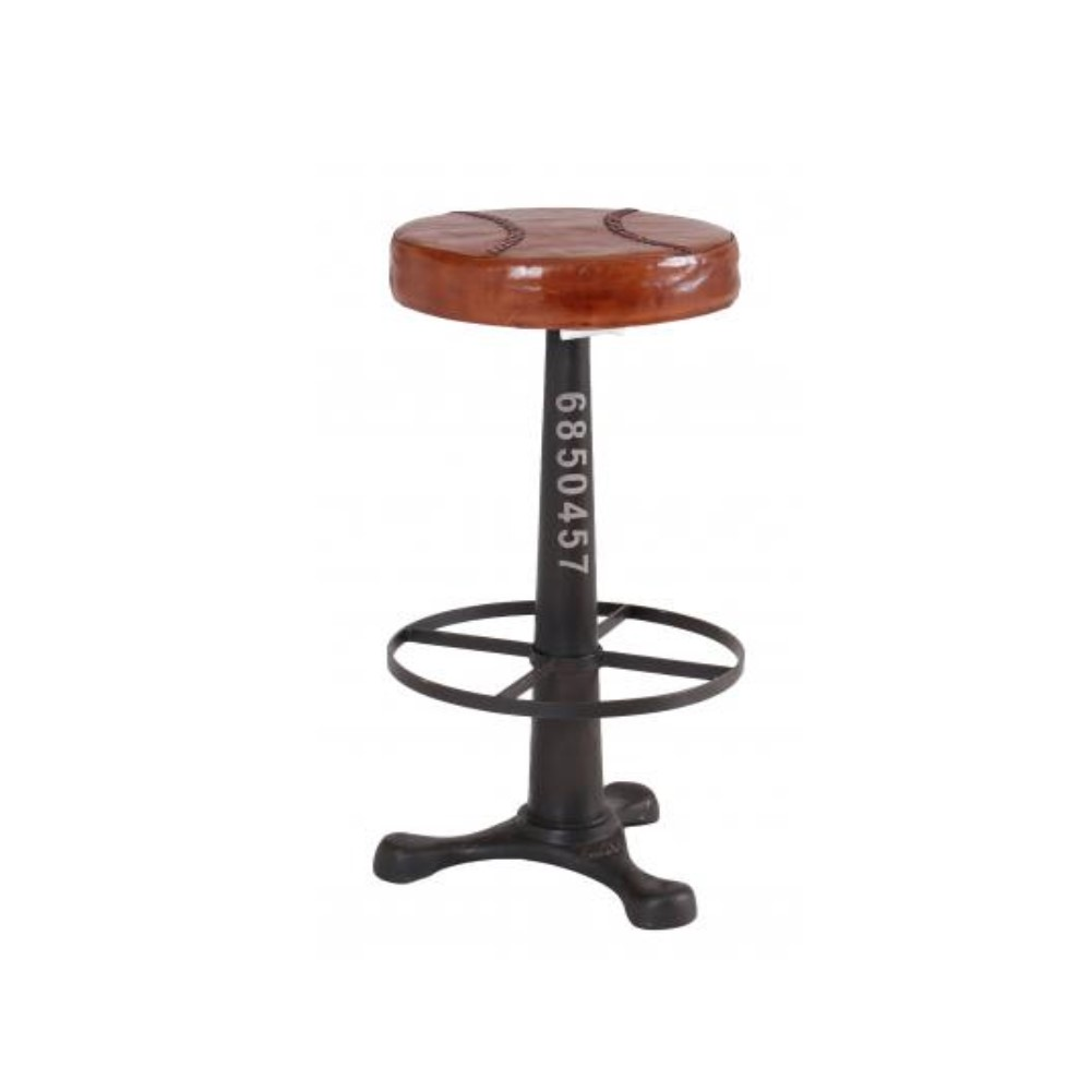Iron-Round-Stool-With-Footrest