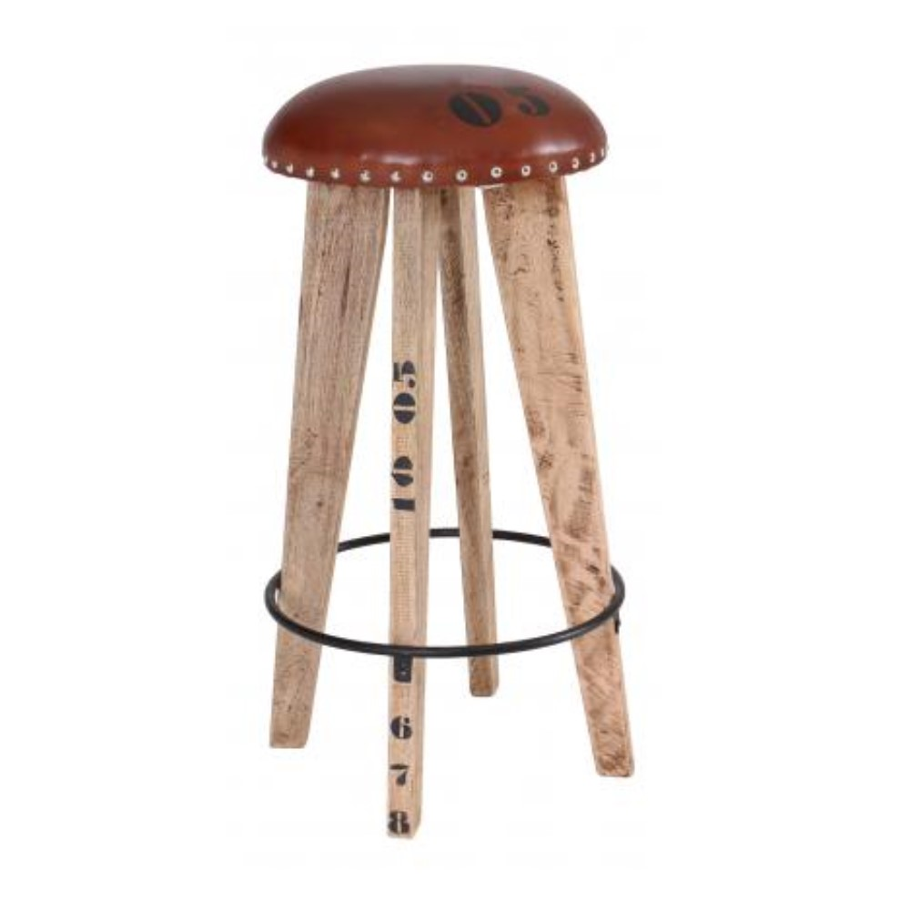 Round top leather stool