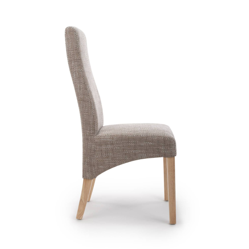 BAXTER WAVE BACK TWEED OATMEAL DINING CHAIR