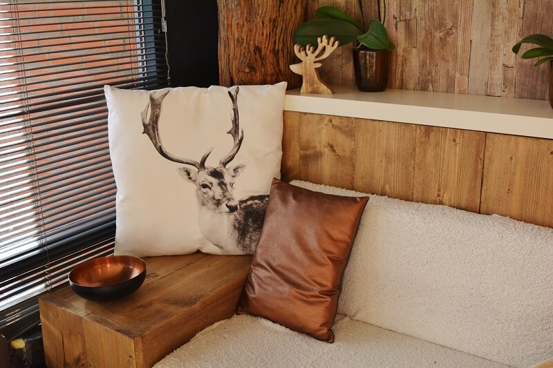 Wood bench with cushions