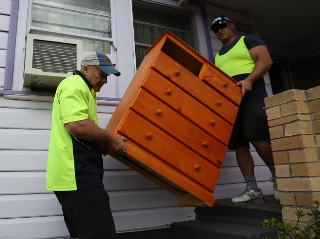 Carrying heavy furniture high to low