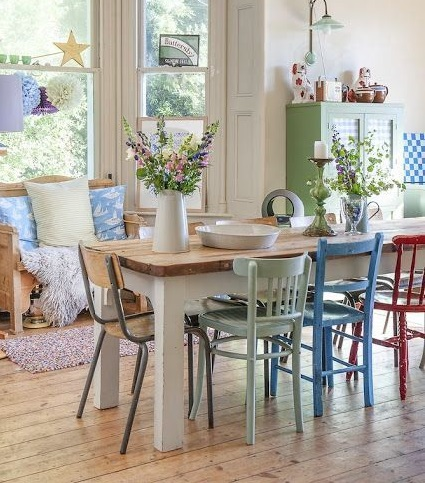 mismatched dining chairs in the spring