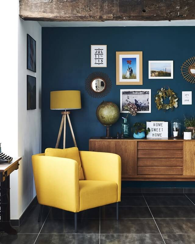 blue and yellow home office